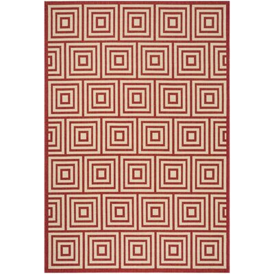 Adalbert Red/Cream Area Rug Rug Size: Rectangle 9 x 12
