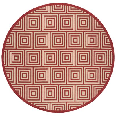 Adalbert Red/Cream Area Rug Rug Size: Round 67