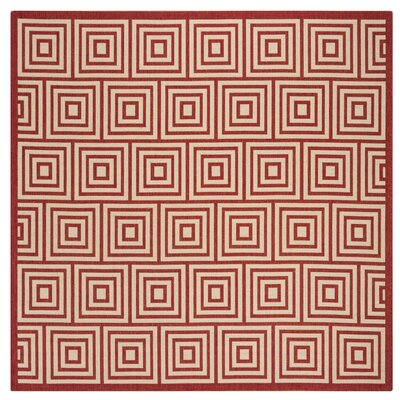 Adalbert Red/Cream Area Rug Rug Size: Square 67