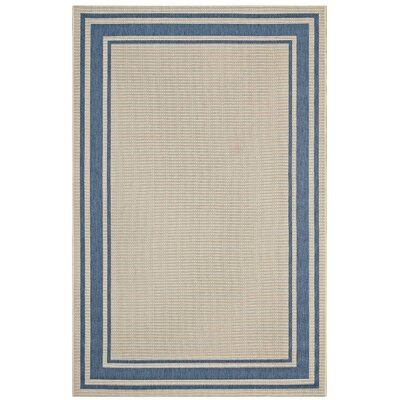 Holiman Solid Border Borderline Blue/Beige Indoor/Outdoor Area Rug Rug Size: Rectangle 8 x 10