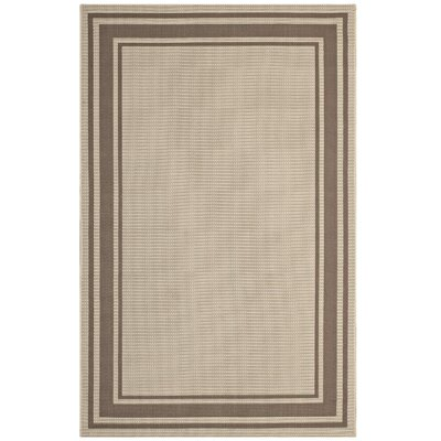Holiman Solid Border Borderline Beige Indoor/Outdoor Area Rug Rug Size: Rectangle 5 x 8