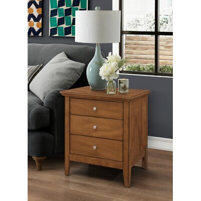 Lignite 3 Drawer Nightstand Finish: Light Walnut