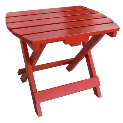 Livingston Solid Wood Adirondack Folding Side Table Finish: Red