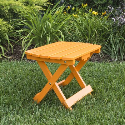 Livingston Solid Wood Adirondack Folding Side Table Finish: Tangerine