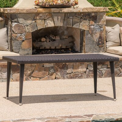 Malta Long Outdoor Wicker Dining Table Finish: Brown