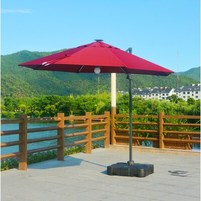 Rinker Lighted 10' Cantilever Umbrella Color: Red