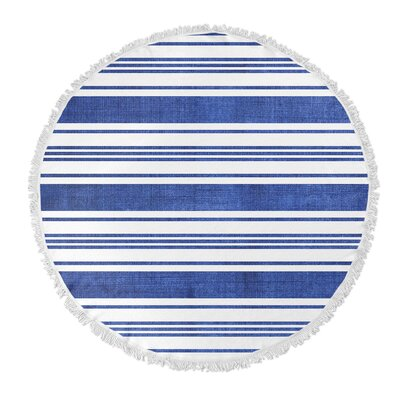 Ellicott Round Beach Towel Color: Blue/ White