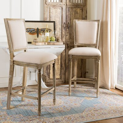 Ingraham 30 Bar Stool Upholstery: Beige, Frame Color: Rustic Oak