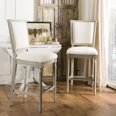 Ingraham 30 Bar Stool Upholstery: Linen, Frame Color: Light Beige