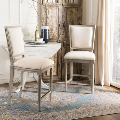 Venturini 26 Bar Stool Upholstery: Beige, Frame Color: Rustic Gray