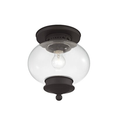 Shielo Sphere Shade Semi Flush Mount Size: 11.5 H x 11 W, Finish: Bronze