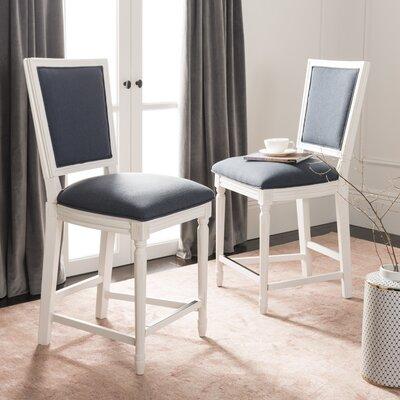 Venturini 26 Bar Stool Upholstery: Navy, Frame Color: White