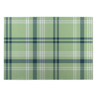 Montezuma Plaid Coral Green Doormat