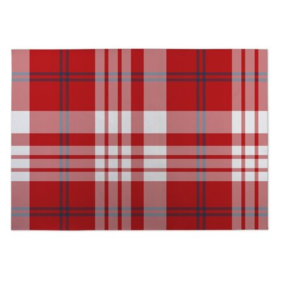 Montezuma Plaid Navy Red Doormat