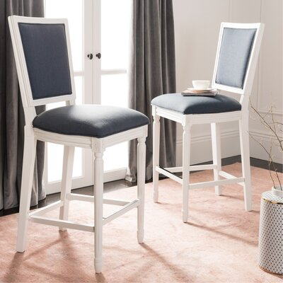 Ingraham 30 Bar Stool Upholstery: Navy, Frame Color: Distressed White