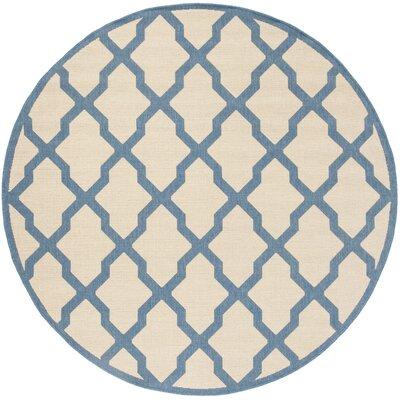 Callender Cream/Blue Area Rug Rug Size: Round 67