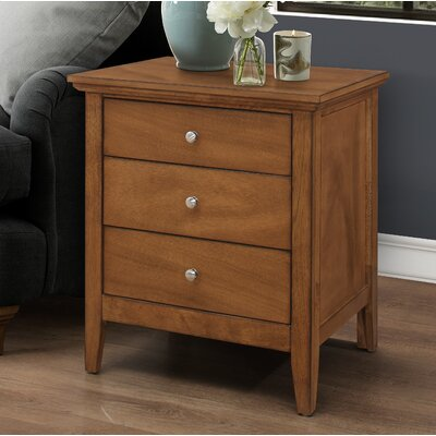 Lignite 3 Drawer Nightstand Color: Light Walnut