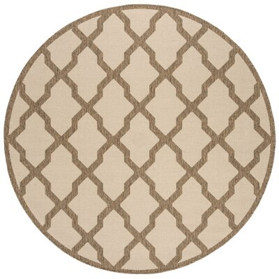 Cashion Cream/Brown Area Rug Rug Size: Round 67