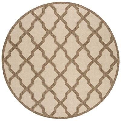 Cashion Cream/Brown Area Rug Rug Size: Round 67