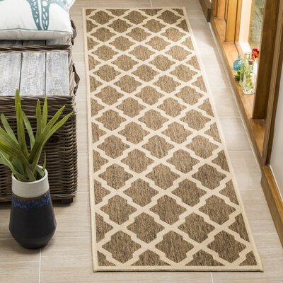 Cashion Brown/Cream Area Rug Rug Size: Runner 2 x 8