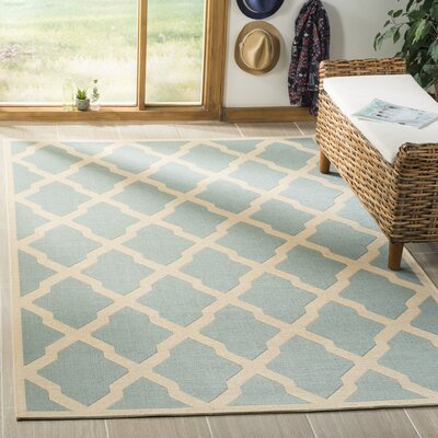 Cashion Aqua/Cream Area Rug Rug Size: Rectangle 51 x 76