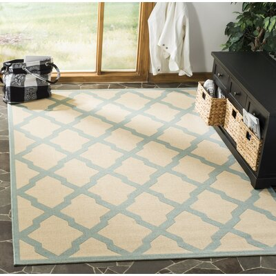 Cashion Cream/Aqua Area Rug Rug Size: Rectangle 9 x 12