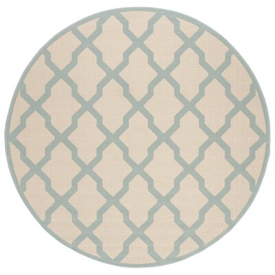 Cashion Cream/Aqua Area Rug Rug Size: Round 67