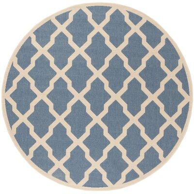 Callender Blue/Creme Area Rug Rug Size: Round 67