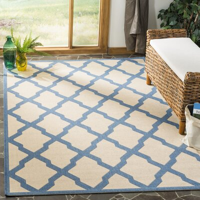 Callender Cream/Blue Area Rug Rug Size: Rectangle 51 x 76