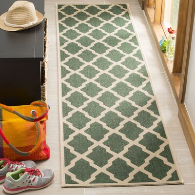 Cashion Cream/Green Area Rug Rug Size: Runner 2 x 8