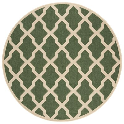 Cashion Cream/Green Area Rug Rug Size: Round 67