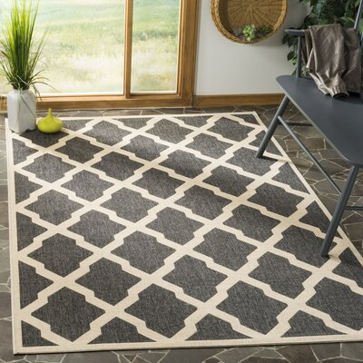 Callender Black/Creme Area Rug Rug Size: Rectangle 9 x 12
