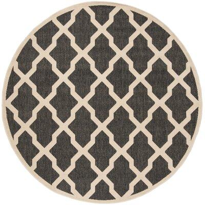 Callender Black/Creme Area Rug Rug Size: Round 67