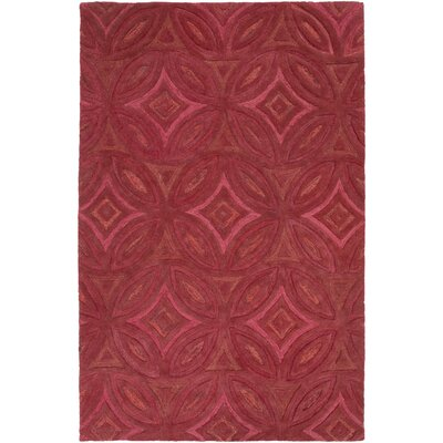 Quinn Geometric Hand-Tufted Cherry Area Rug Rug Size: 9 x 13