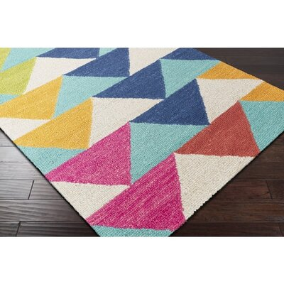 Villa Hand-Tufted Mint/Blue/Orange Area Rug Rug Size: Rectangle 2 x 3