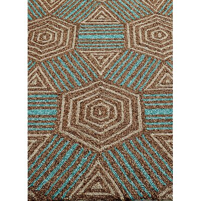Shari Brown/Tan/Aqua Indoor/Outdoor Area Rug Rug Size: Rectangle 2 x 3