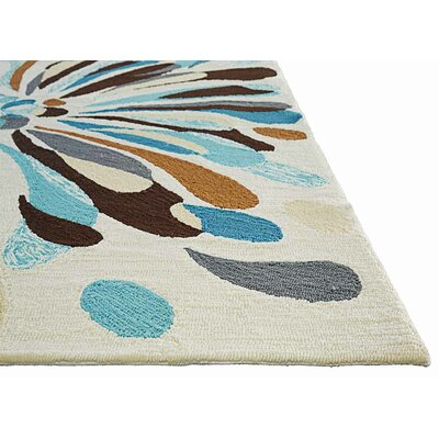Saira Cream/Blue/Brown Indoor/Outdoor Area Rug Rug Size: 76 x 96