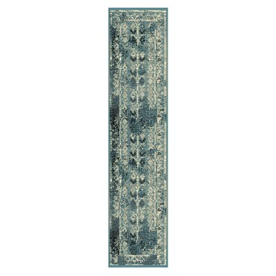 Mya Blue/Cream Area Rug Rug Size: Runner 27 x 8