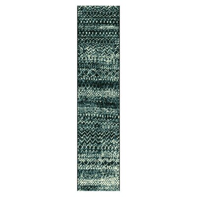Hopkins Blue/Black Area Rug Rug Size: Runner 27 x 8