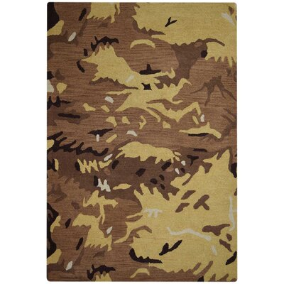 Micaela Contemporary Hand-Woven Wool Brown/Gold Area Rug Rug Size: Rectangle�5 x 8