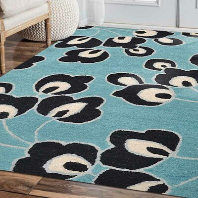 Staci Floral Hand-Tufted Wool Blue Area Rug Rug Size: Rectangle 9 x 12