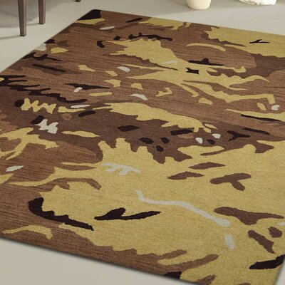 Micaela Contemporary Hand-Tufted Wool Brown/Gold Area Rug Rug Size: 5 x 8