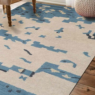 Jaimie Contemporary Hand-Tufted Wool Beige/Blue Area Rug Rug Size: Rectangle 5 x 8
