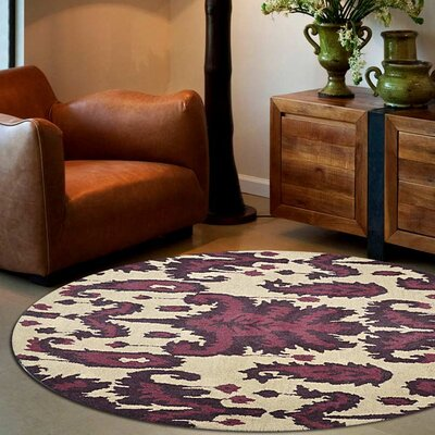 Rebeca Hand-Tufted Wool Cream/Brown Area Rug Rug Size: Round 5