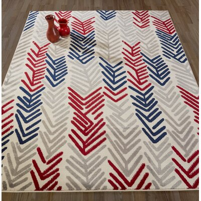 Daniella Gray/Red Area Rug Rug Size: 53 x 73