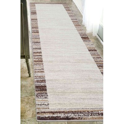 Clair Ivory/Beige Area Rug Rug Size: Runner 26 x 10