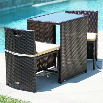 Kendal Patio Furniture Wicker 3 Piece Bistro Set W/ Glass Top Table, 2 Chairs UV Cushion Brown