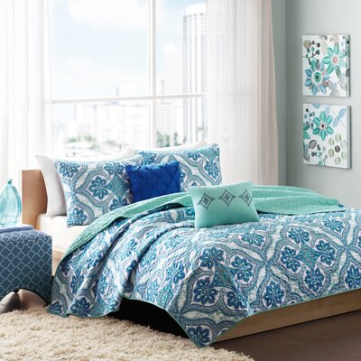Carli Coverlet Set Size: Twin / Twin XL, Color: Blue