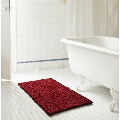 Diondre High Pile Chenille Bath Mat Size: 24 W x 17 L, Color: Burgundy