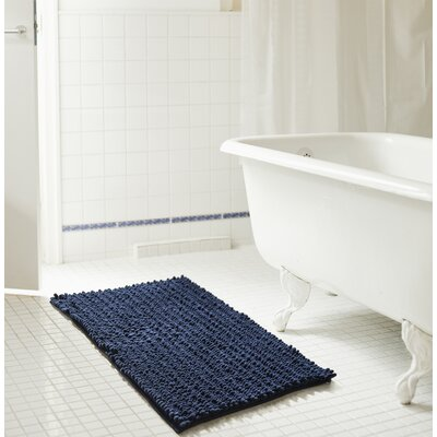 Diondre High Pile Chenille Bath Mat Size: 24 W x 17 L, Color: Navy